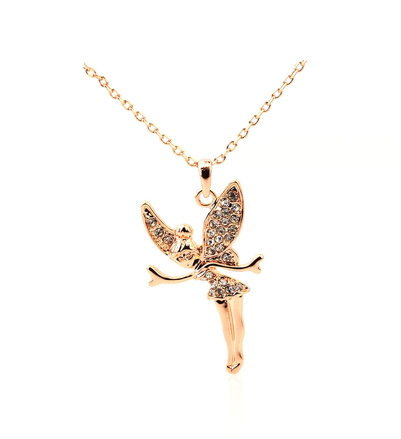 Rose gold plated Tinkerbell Pendant Necklace with Crystals UK