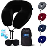 Everlasting Comfort Memory Foam Travel Pillow - Includes Eye Masks and Earplugs - Travel Pillow for Airplane (Black)