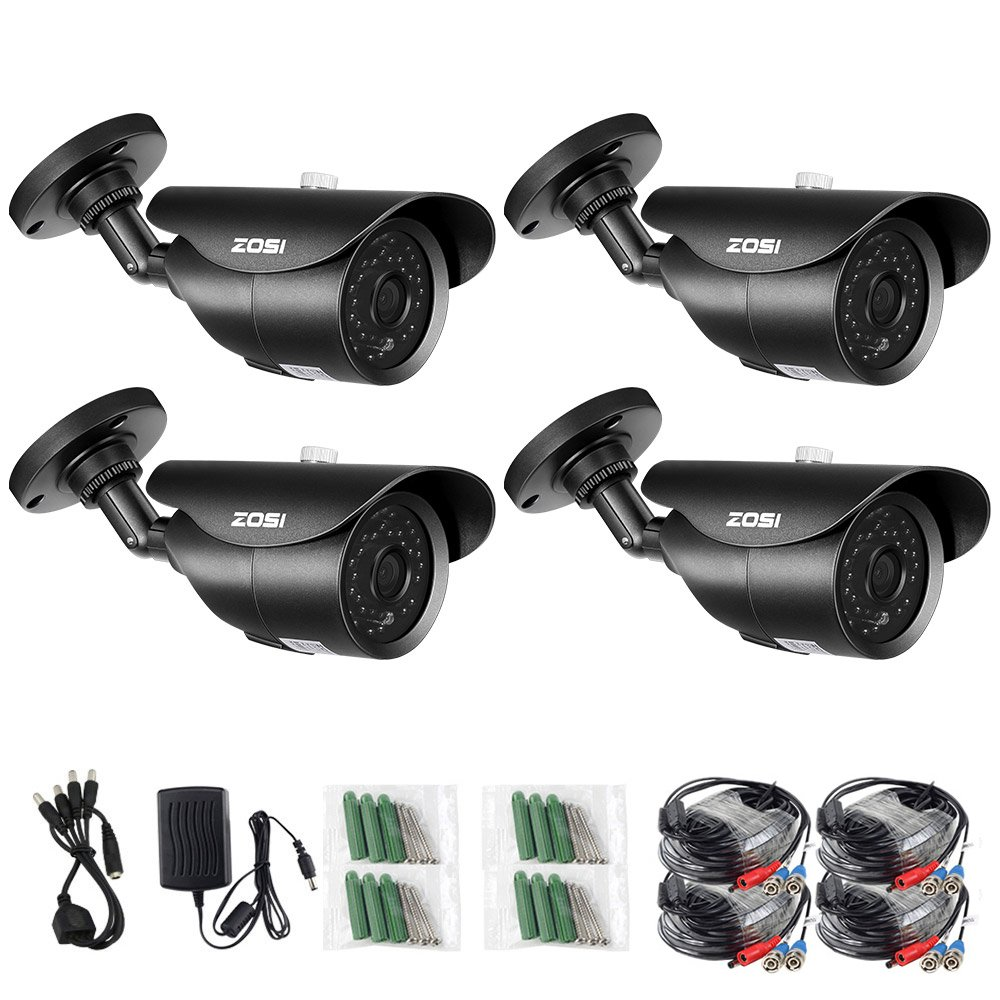 ZOSI 4 Pack 1080p Indoor Outdoor Day Night Vision Weatherproof 42pcs IR Infrared Leds Security Cameras Kits-3.6mm lens, 120ft IR Distance, Aluminum Metal Housing