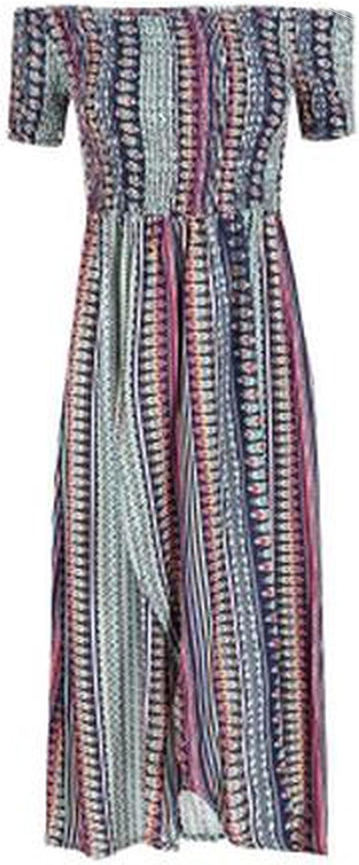 Boho Style Long Dress Women Off Shoulder Beach summerFloral Print Vintage Maxi Dress,Photo Color,M