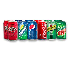 12 Can Soda Variety Pack - Assortment of Coke, Pepsi, Dr. Pepper, Mountain Dew, Sprite and Schweppes Ginger Ale - Home, Office or Party Refrigerator Restock Pack - By MaxPax