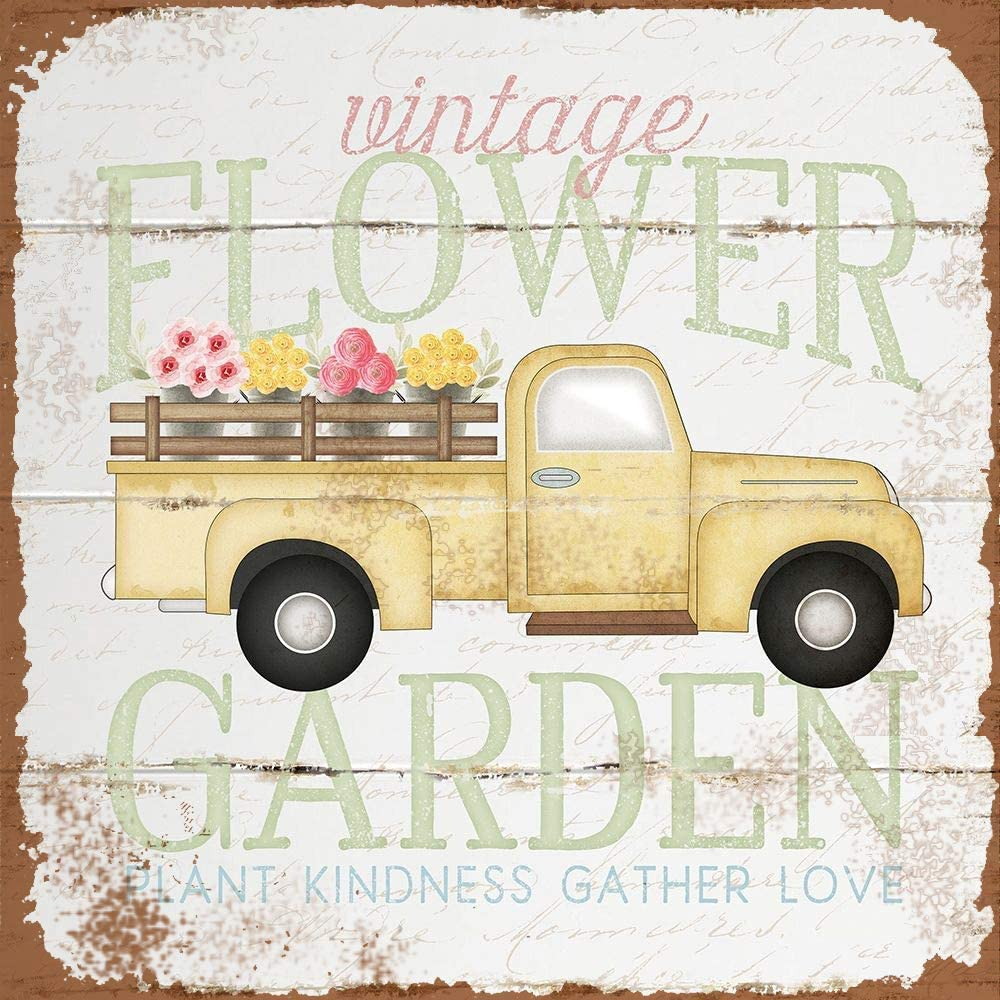 Vintage Flower Garden Truck Retro Metal Printing Wall Poster Tin Sign Wall Painting Art Metal Decor Plaques 12x12Inches
