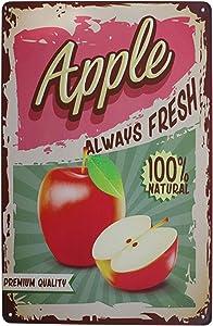 bowzwowz Fruits Collection Vintage Metal Tin Sign Rural Retro Plaque Home Wall Decor (Apple)