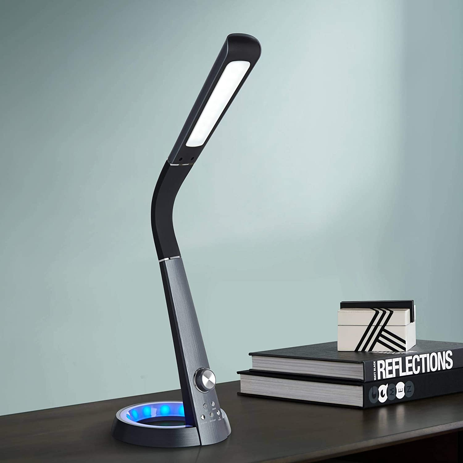 Keno Modern Desk Table Lamp with USB Charging Port and Color Changing Nightlight LED Touch On Off Adjustable Head Black for Bedroom Bedside Nightstand Office Family - 360 Lighting