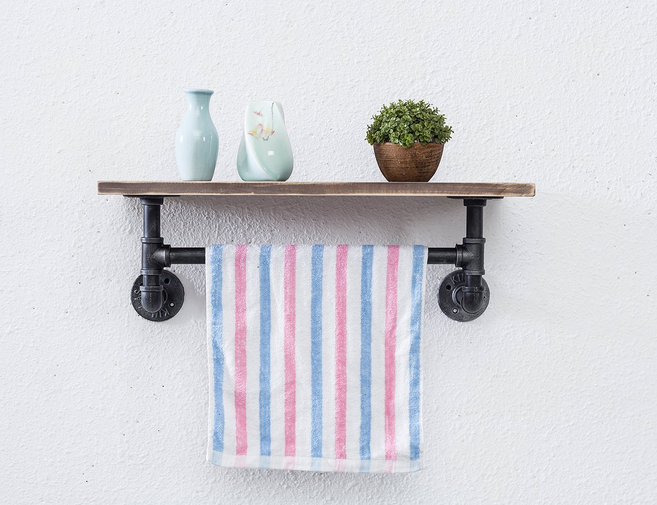 Industrial Pipe Towel Racks Wood shelves Wall Mounted 24-Inch Shelf ...
