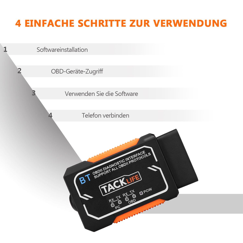 OBD2 Auto-Scanner, Tacklife AOBD1B Diagnose-Scanner mit OBDII ...