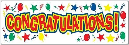 Amazon.com: Felicitaciones Sign Banner para fiesta (1 count ...