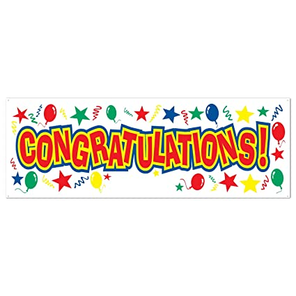 amazon com congratulations sign banner party accessory 1 count 1
