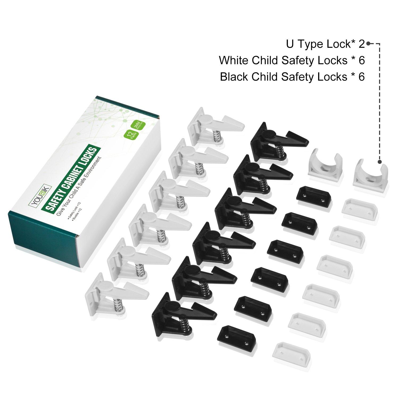 Sicherheitsschloss Uiter Babysichere Schrank-Sperren /& Schubladen Sicherung Kindersicherung Schrank Kindersicherung mit 3M selbsthaftenden Sticker f/ür einfaches Anbringen ohne Bohren 12er Pack