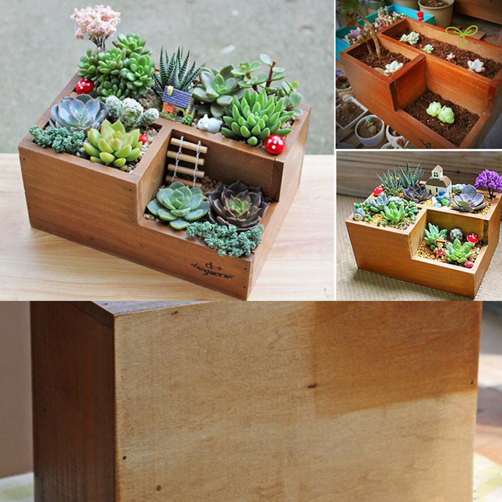 Wooden Garden Window Box Trough Planter Succulent Flower Bed Pot (Three gird)