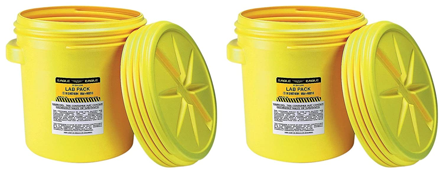 Eagle 1650 Yellow Blow-Molded HDPE Lab Pack with Screw Top Lid, 20