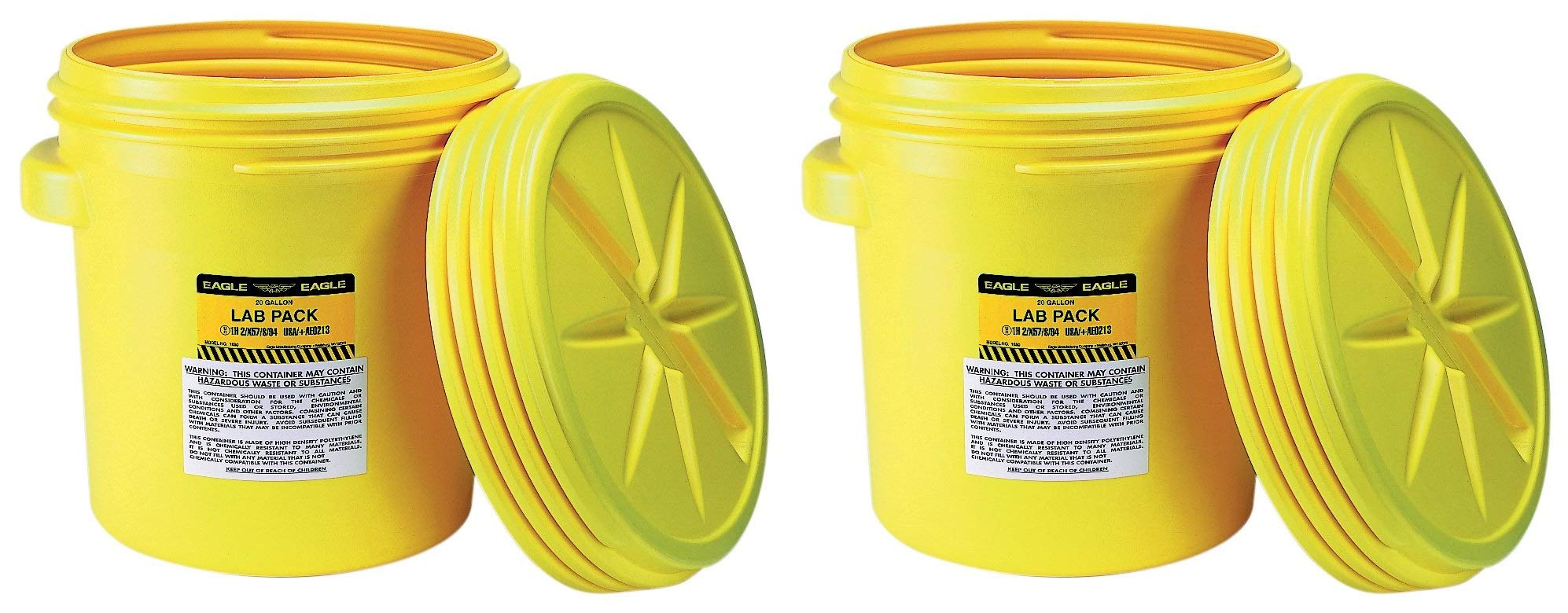 Eagle 1650 Yellow Blow-Molded HDPE Lab Pack with Screw Top Lid, 20 Gallon Capacity, 20.75'' Height, 20.5'' Diameter (Pack of 2)