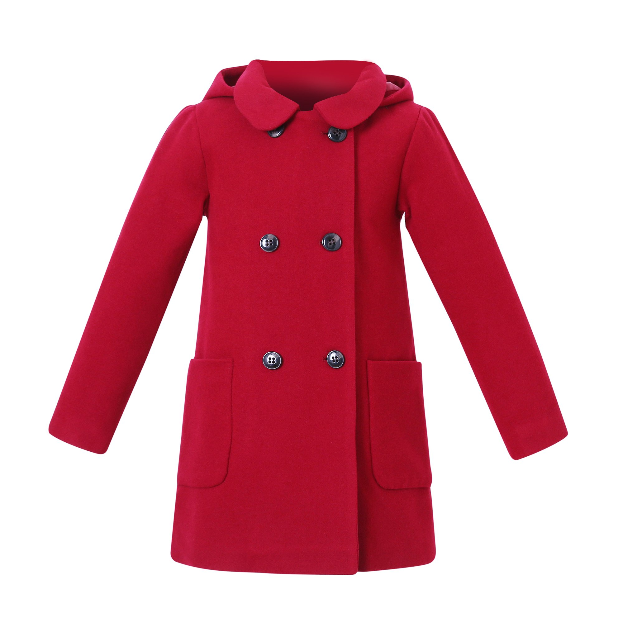 Richie House Big Girls' Wool Double-Breasted Jacket RH2517-A-8 Cherry