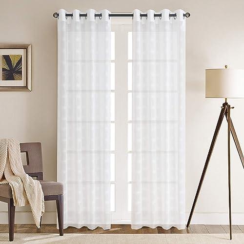 Cheap Gxi White Linen Sheer Curtains Lattice Grommet Drapes Pair window curtain panel for sale