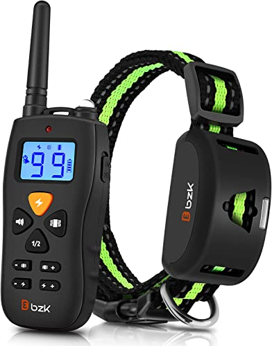 BZK Dog Training Collar-Adjustable Vibrating Dog Collar with Remote Control, Rechargeable and Waterproof for Small Medium Large Dogs