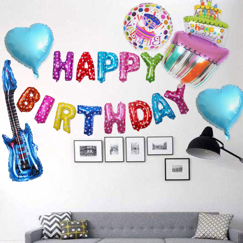 4 Colors Toy Birthday Gift Blow Up 85x30cm Rock Guitar Balloon Cartoon Inflatable Foil Balloon For Kids Moderate Price Event & Party Ballons & Accessories