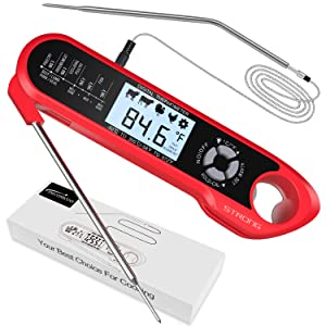 Meat Thermometer, DecorStar Dual Probe Food Thermometer with Backlight & Calibration, Digital Instant Read Meat Thermometer for Kitchen, Food Cooking, BBQ, Milk, Coffee, and Oil Deep Frying