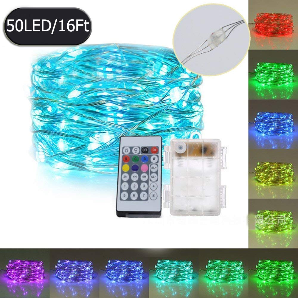 OASMU LED String Lights Multi Color RGB 16.4ft 50 LEDs Dimmable Festival Decorative Lights for Seasonal Holiday, Complete Waterproof(Copper Wire Lights, RGB)