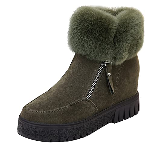dd68f6e6587 Fashion Women Suede Rabbit Fur Ankle Snow Boot Hidden Wedge Hi Top Elevator  Shoe Green