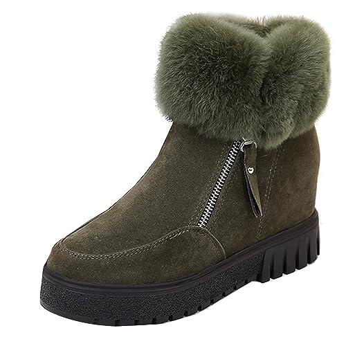 095a81fb87e94 Amazon.com | Fashion Women Suede Rabbit Fur Ankle Snow Boot Hidden ...