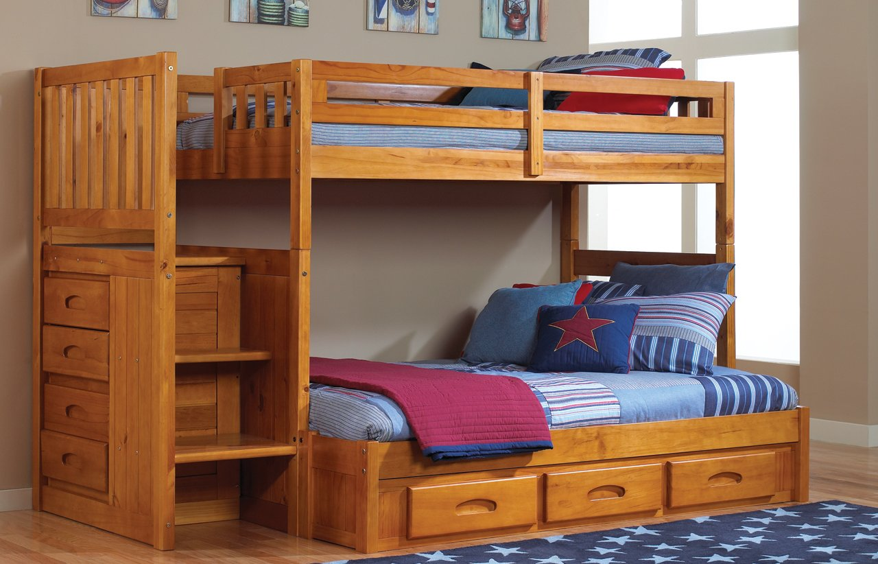 Mission Twin Over Full Staircase Bunk Bed with 3 Drawers, Desk, Hutch, Chair and 5 Drawer Chest in Honey Finish
