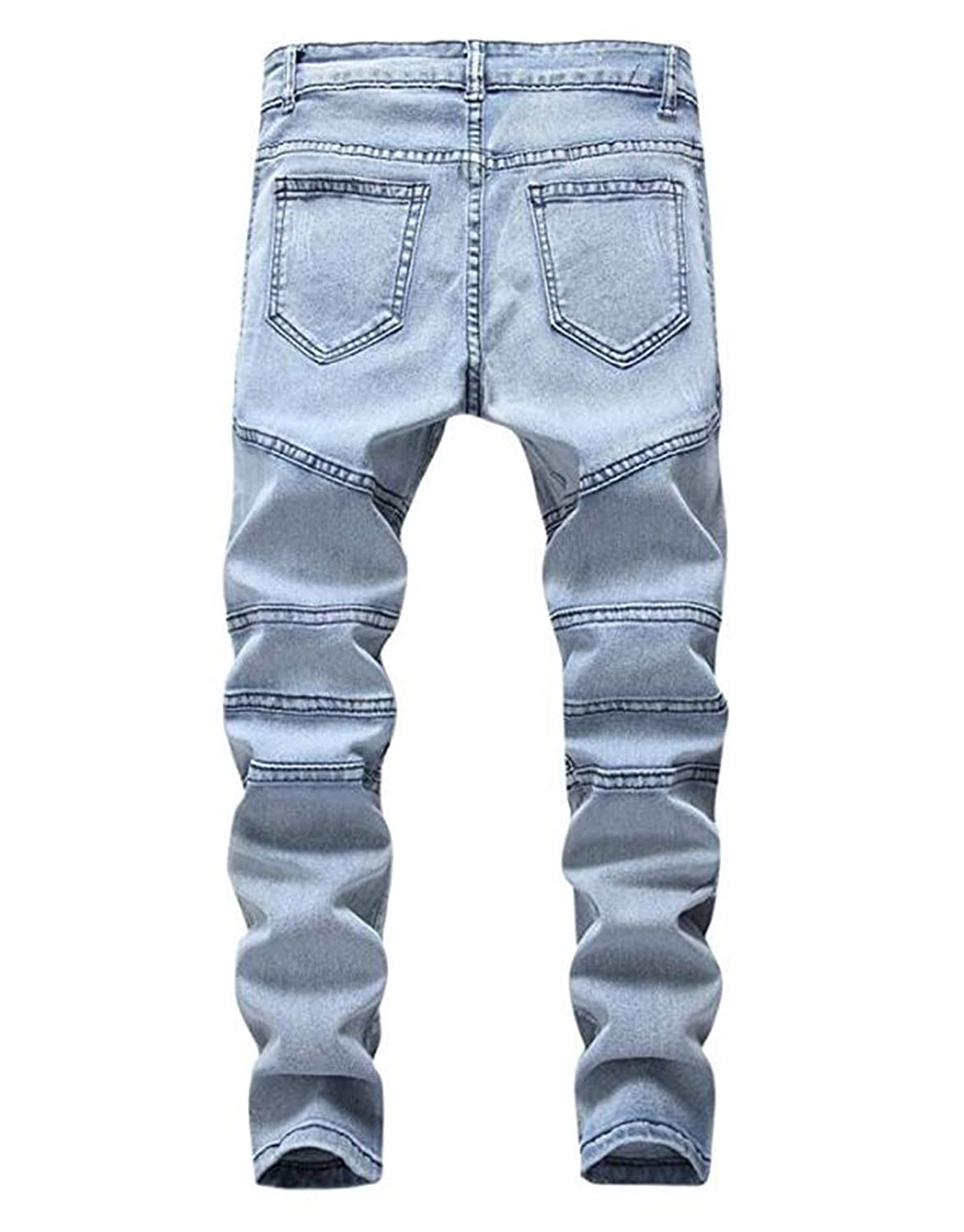 OBT Boys Slim Moto Biker Skinny Ripped Distressed Stretch Fashion Fit Denim Jeans