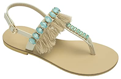 bfe02c1da03 Image Unavailable. Image not available for. Color  AnnaKastle Womens Beaded  Thong Flip Flop Sandal