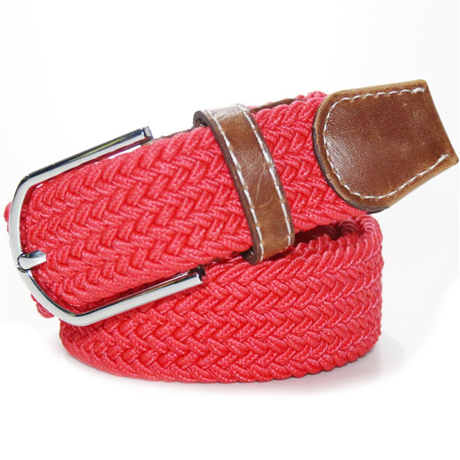 LOKOUO Fashion?Top Quality For Men//Women Solid color elastic rubber Belt Alloy Buckle Woven Waistband