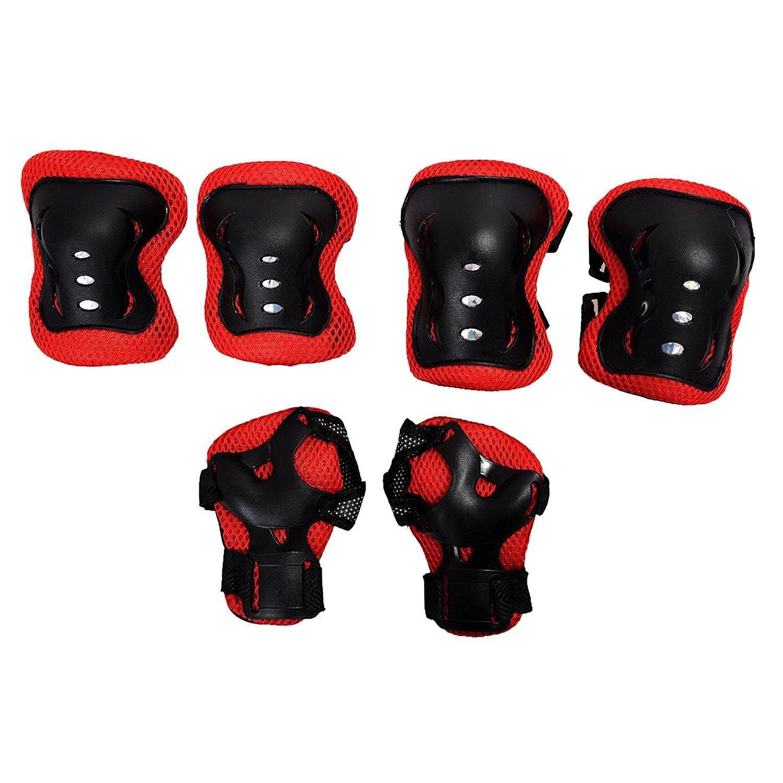 SODIAL(R) Almohadilla protectora de muneca rodilla codo para patinaje sobre ruedas ciclismo para ninos - Negro y rojo