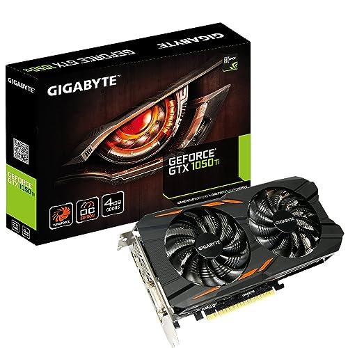 GIGABYTE NVIDIA GeForce GTX 1050Ti WINDFORCE OC 4G 4GB di memoria GDDR5128Bit scheda grafica PCI Express 3HDMI/DP/DVI, Nero