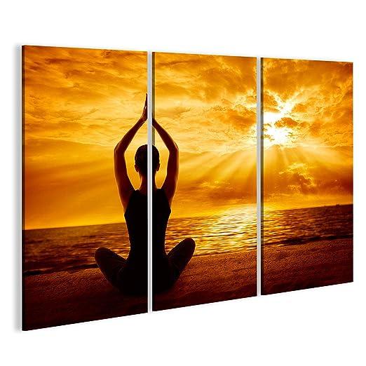 Cuadro Cuadros La meditación del Yoga Silueta de la Mujer ...