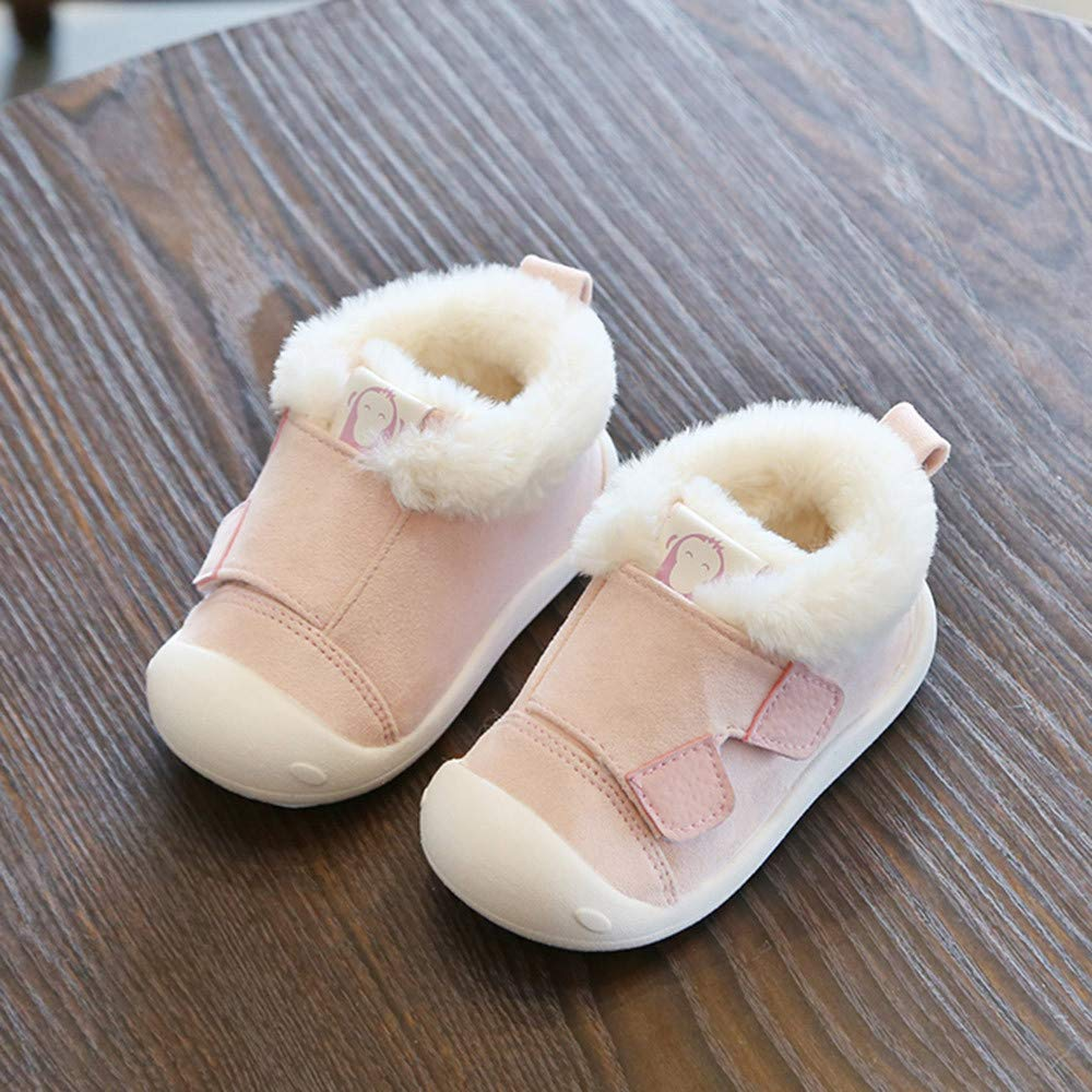 Pink, US-7 Boy Girl Fashion Toddler Sneakers Fit Age 1-3 PrettyW Child Autumn Winter Warm Shoes