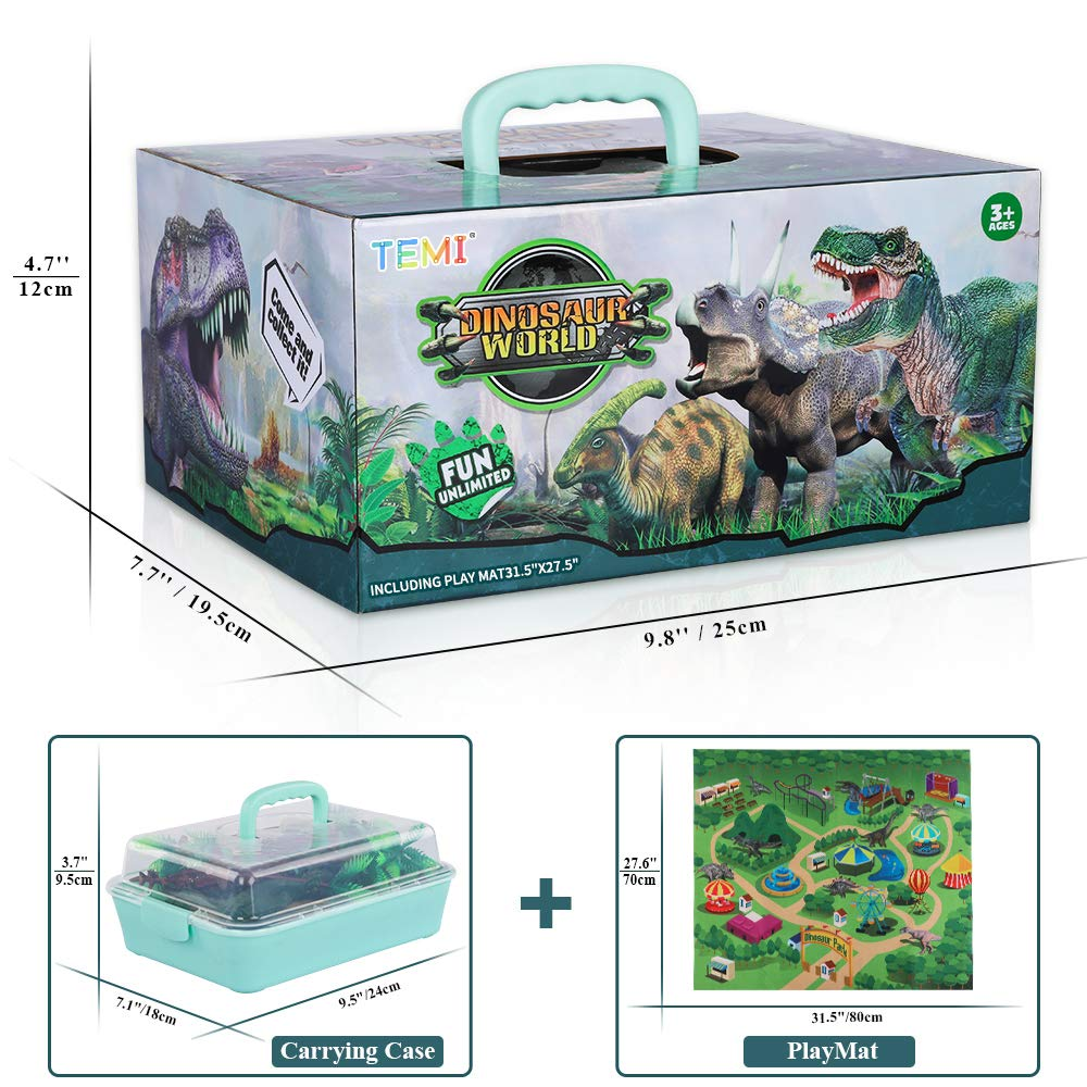 TEMI Dinosaur Toy Figure w/ Activity Play Mat & Trees, Educational Realistic Dinosaur Playset to Create a Dino World Including T-Rex, Triceratops, Velociraptor, Perfect Gifts for Kids, Boys & Girls by TEMI (Image #7)