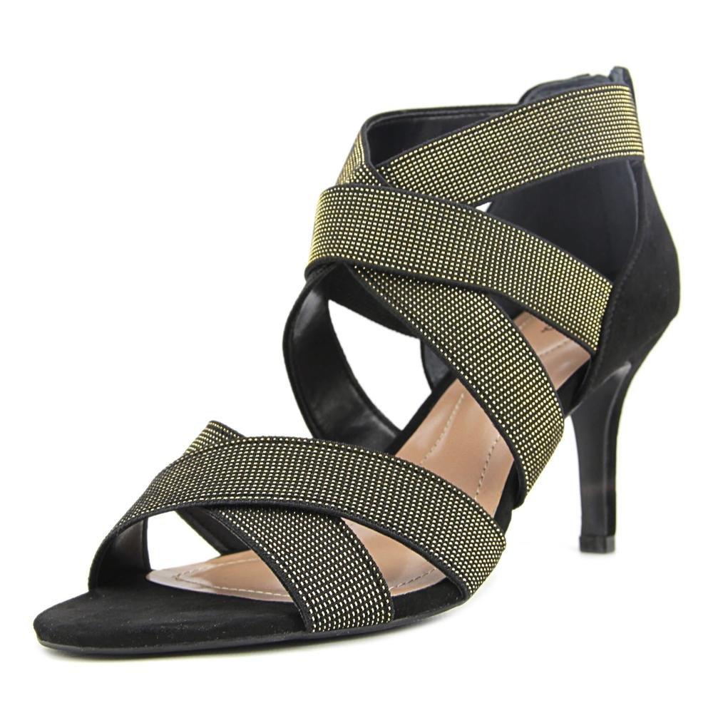 Style & Co. Womens Seleste Open Toe Ankle Strap Classic Pumps Shoes Black/Gold Size 9.0