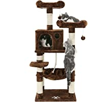 "SONGMICS 58"" Multi-Level Cat Tree with Sisal-Covered Scratching Posts, Plush Perches, Hammock and Condo, Cat Tower Furniture - for Kittens, Cats and Pets UPCT15W"