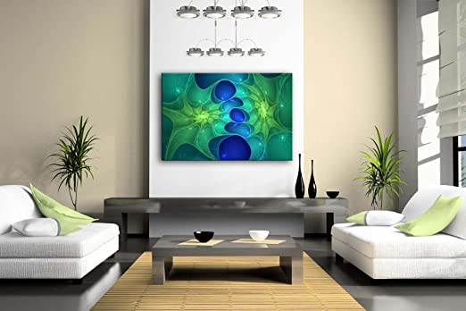 Fractal Green And Blue Wave Wall Art Painting Pictures Print On