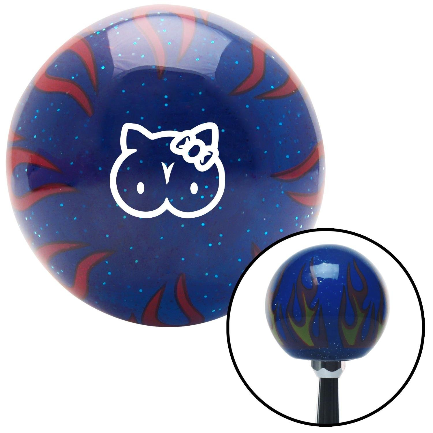 American Shifter 297738 Shift Knob White Hello Titty Blue Flame Metal Flake with M16 x 1.5 Insert