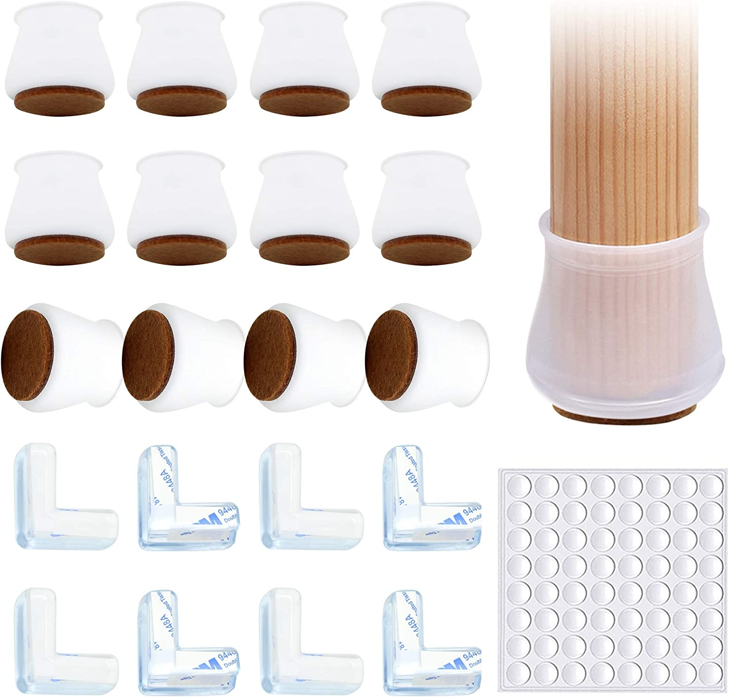 32pcs Silicone Chair Leg Caps, Rubber Chair Leg Protectors for Hardwood Floors, Chair Leg Covers for Round or Square, Furniture Felt Pad Leg Protection for Wood Floors, Floor Protector for Chair