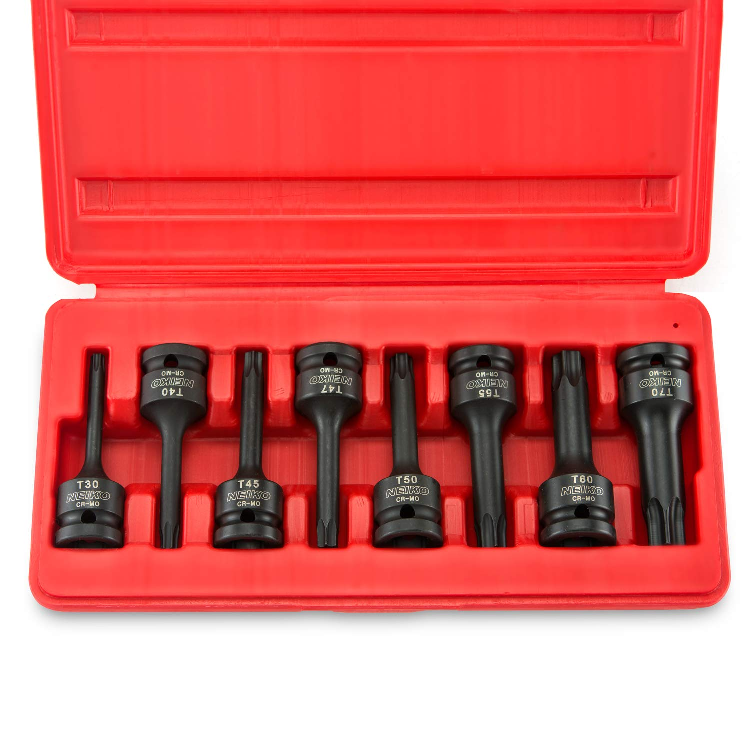 Neiko 01138B 1/2'' Drive Torx Star Driver Bit Socket Set, T30 to T70  | 8-Piece Set, Cr-Mo, Impact Grade, One-Piece Construction, 3-Inch Length by Neiko