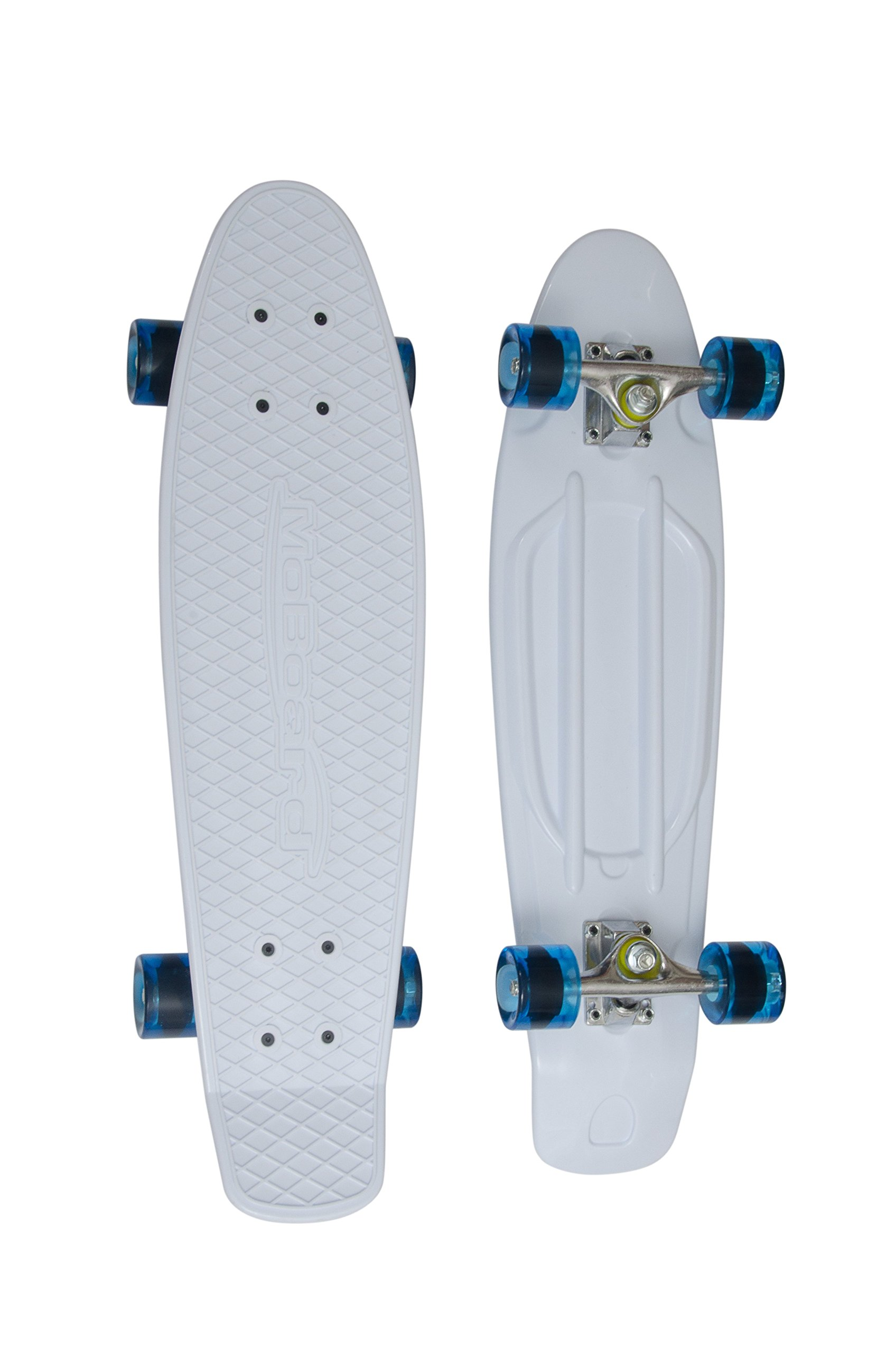 MoBoard Classic 27'' Skateboard | Pro and Beginner | 27 inch Vintage Style with Interchangeable Wheels, Enhanced Bearings | Portable, Lightweight | Durable Rails, Metal Truck. (White - Clear Blue) by MoBoard