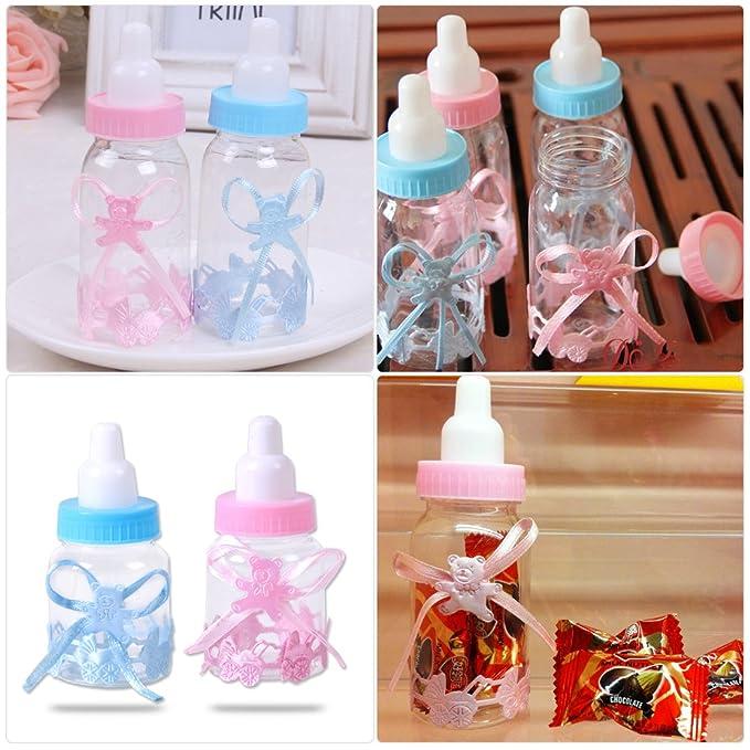 Lote de 12 biberones rosa para gominolas, Bapteme, Baby Shower rosa rosa: Amazon.es: Bebé