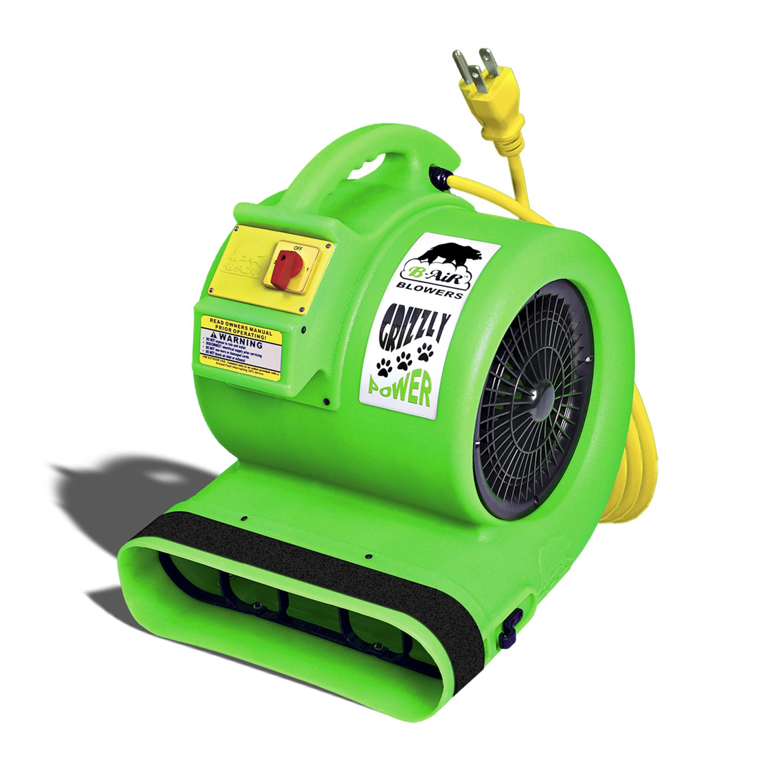 B-Air Grizzly GP-1 1 HP Air Grizzly Mover Carpet Dryer Floor Fan for Water Damage Restoration and Pet Cage Dryer Green