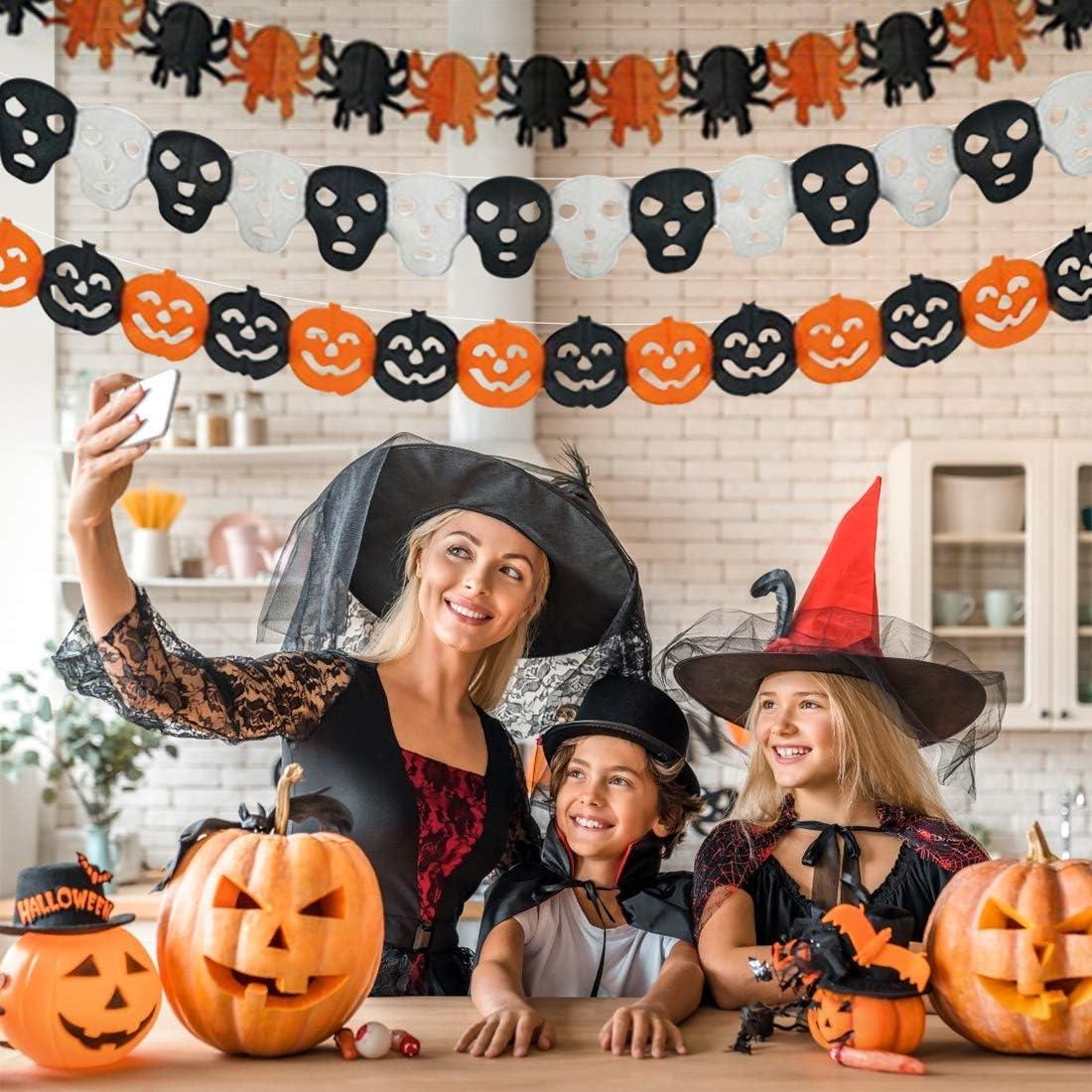 Deco Halloween Decoration Happy Halloween Banniere D/écoration Guirlande Papier Papier dhalloween Ghost Citrouille Chauve-Souris cr/âne t/ête de fant/ôme daraign/ée Banni/ère de Guirlande Halloween