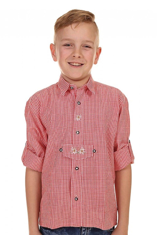 Isartrachten Baby Jungen Trachtenhemd kariert Edelweiß (128, rot)