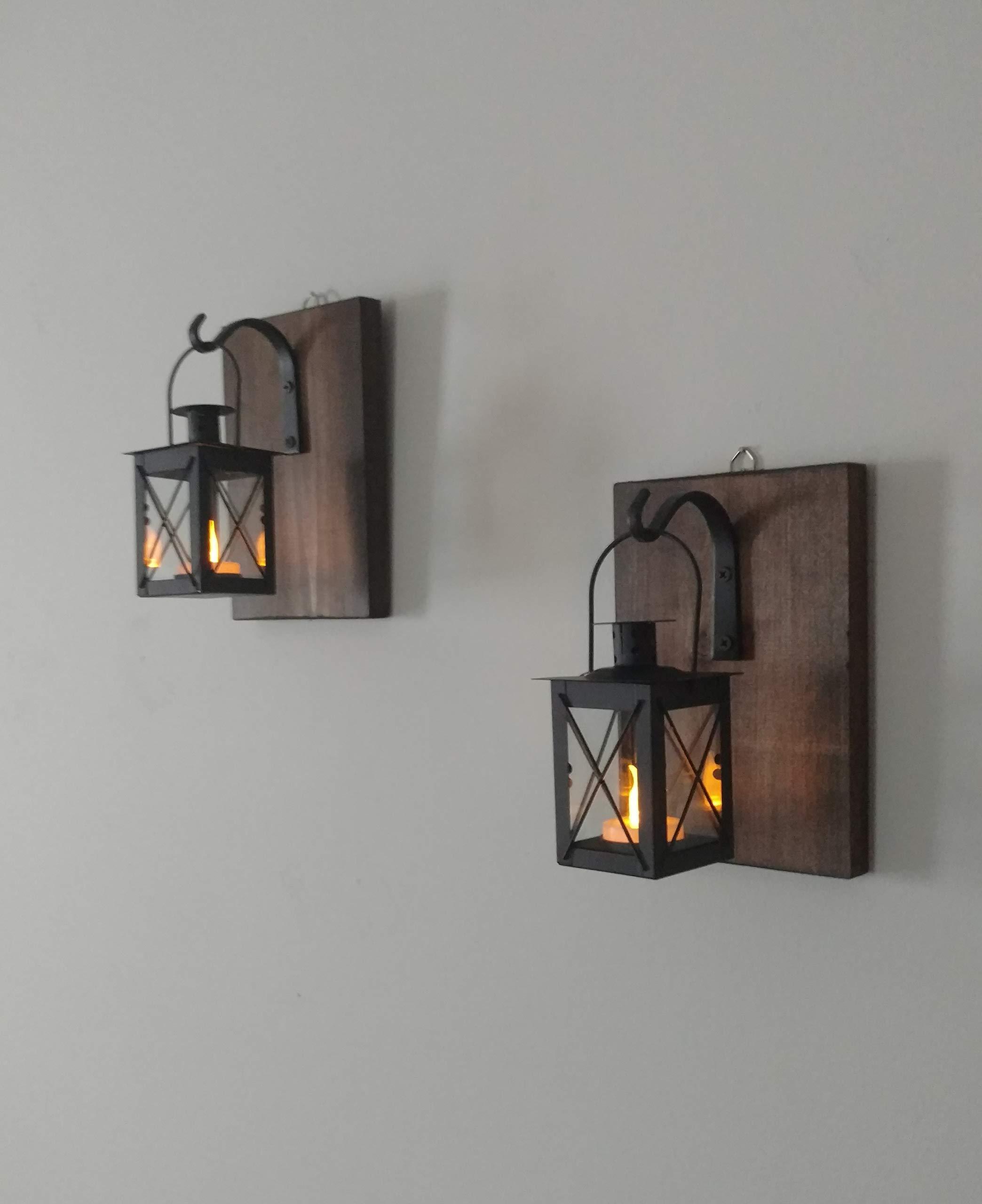 Set of 2 Lanterns Rustic Wall Metal Lanterns with Lights