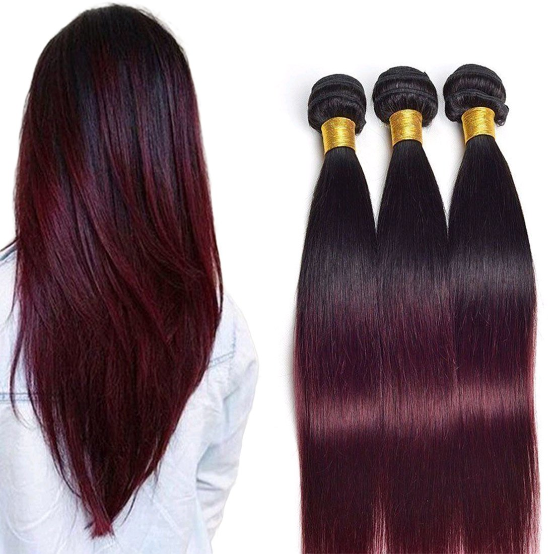 Daimer Brazilian Ombre Burgundy Hair Extensions Black To Red Weave Brazilian Hair Straight Two Tone 3