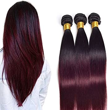 Amazon Daimer Brazilian Ombre Burgundy Hair Extensions Black