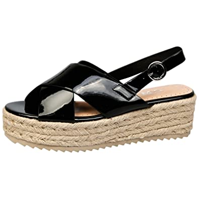 e13332274e7 Feet First Fashion Joanne Womens Low Wedge Heel Platfor Black Patent 3  UK 36 EU
