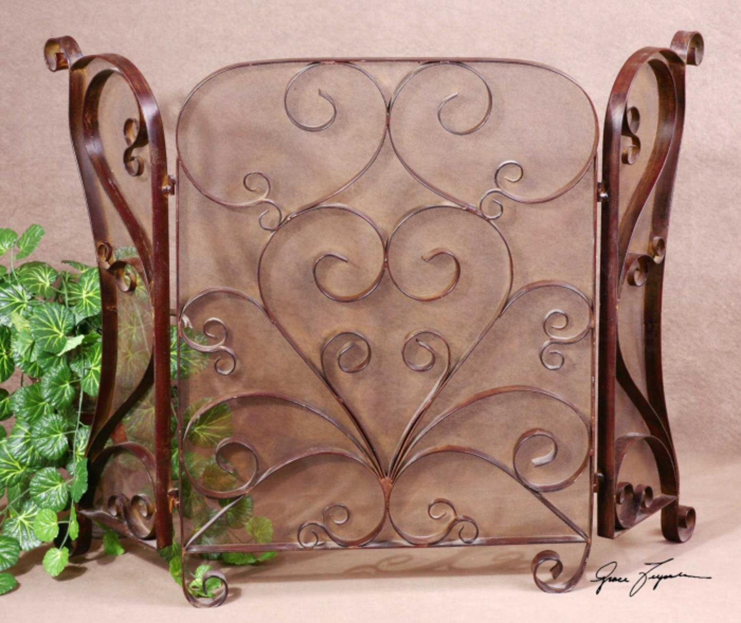 50'' Mocha Brown Forged Metal Hinged Fireplace Screen with Intricate Scrollwork