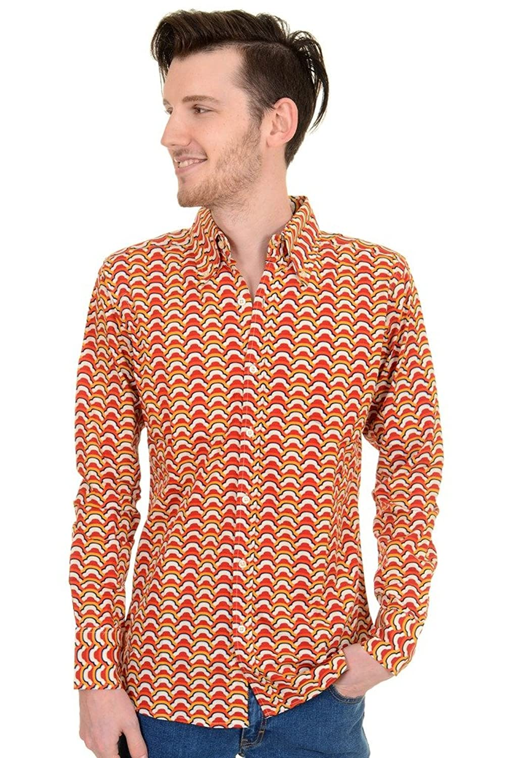 1960s Men's Clothing, 70s Men's Fashion Mens Run & Fly 70s Retro Mod Psychedelic Retro Clouds Printed Shirt $34.95 AT vintagedancer.com